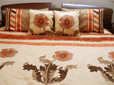 modern sunflower patchwork embroidery duvet in size 90 x 108 inches - TATVAKALA Home