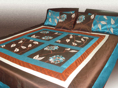 modern quilted embroidered floral duvet cover- 90inchX108inch-brown and teal colour - TATVAKALA Home