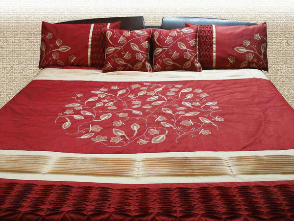 Floral Appliqued Embroidered Duvet Cover-Red cream-Twin Size Set - TATVAKALA Home