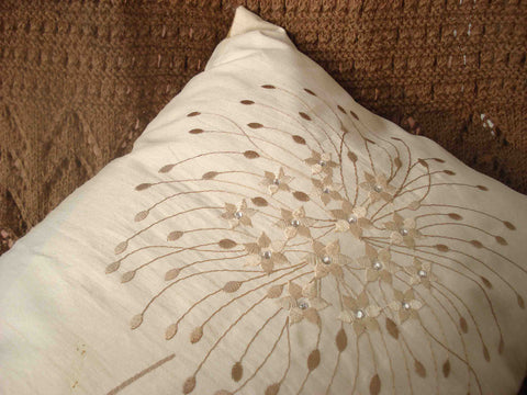 beige embroidery pillow in the size 30cmx45cm - TATVAKALA Home