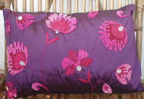 purple sequenced floral cushion in size 12inchesx18inches - TATVAKALA Home