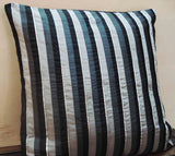 Black Grey Silver Stripped Cushion -16x16 inches - TATVAKALA Home