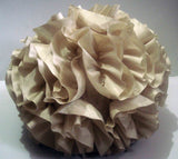 Beige ruffled filled round pouf fluffy cushion  pillow 12 inch Height - TATVAKALA Home