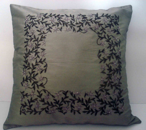 grey beige cushion with intricate zardozi trellis handwork done in size 16x16 - TATVAKALA Home
