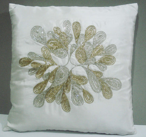 white  abstract spiral silk with gold and siver sequins pipes cushion is size 16inchx16inch - TATVAKALA Home