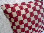 Beige Red Geometric Pillow 16x16inch - TATVAKALA Home