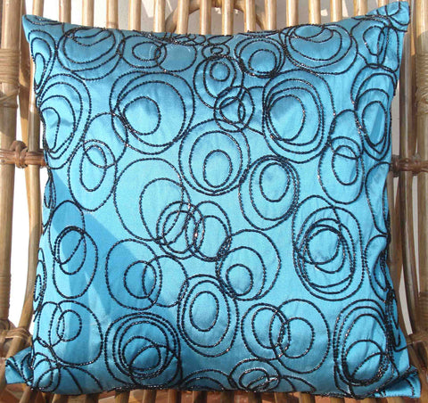 Blue Sequins Pillow Cover-16x16 inches - TATVAKALA Home