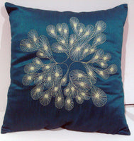 teal green abstract embroidered  cushion in size 16 inch x 16 inch - TATVAKALA Home