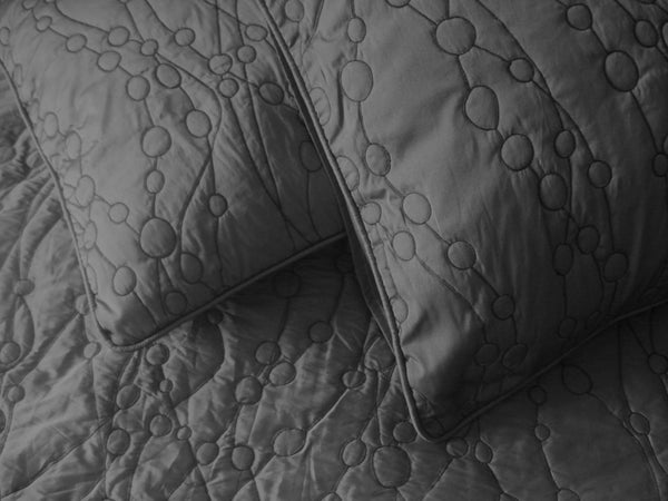 charcoal standard size quilted  2 pillow set in size 20x26 inches - TATVAKALA Home