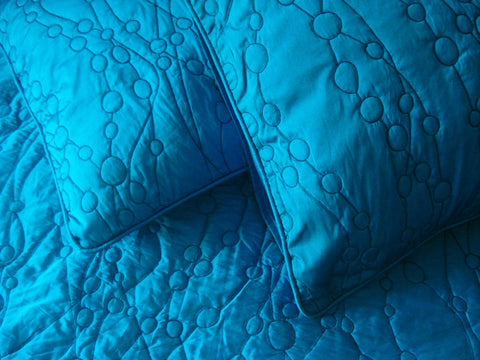 cotton bedspread blue teal pebbles King quilted bedspread ,bedding coverlet embroidery pattern contemporary quilt modern bedspread - TATVAKALA Home