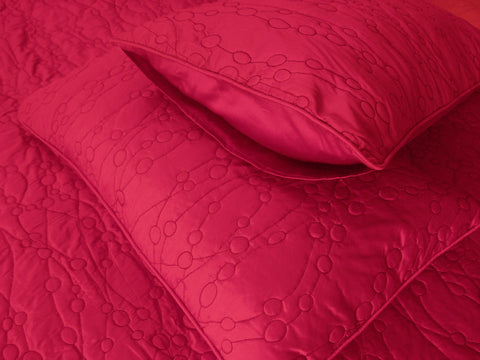"Cotton fushia pink twin size quilted bedspread with 2 pillows in size 108""x90"" and 20x26 inches - TATVAKALA Home"
