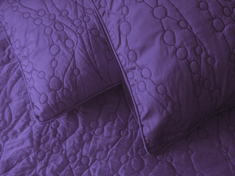 cotton bedspread purple pebbles King quilted bedspread ,bedding coverlet embroidery pattern contemporary quilt modern bedspread - TATVAKALA Home