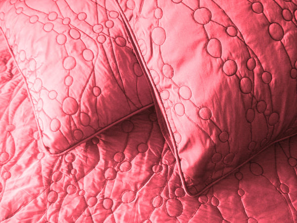 Berry Pink Pebble Pattern Quilted Bedding Coverlet Set - TATVAKALA Home