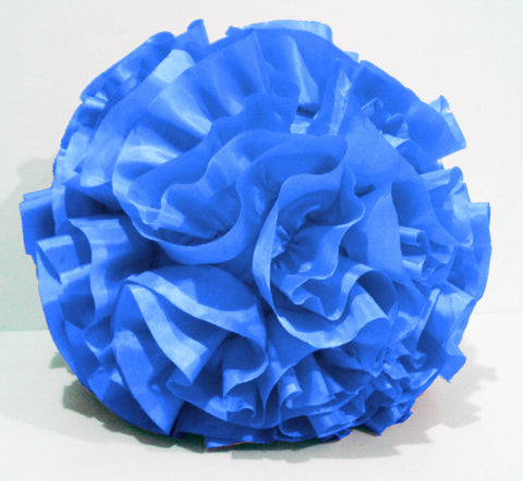 blue ruffled pillow