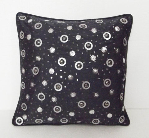 glitzy black sequins scattered cushion in size 16x16 inches - TATVAKALA Home