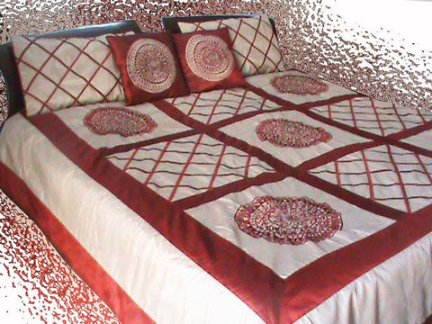 Appliqued Embroidered Duvet Cover-Beige Red -Twin Size Set - TATVAKALA Home