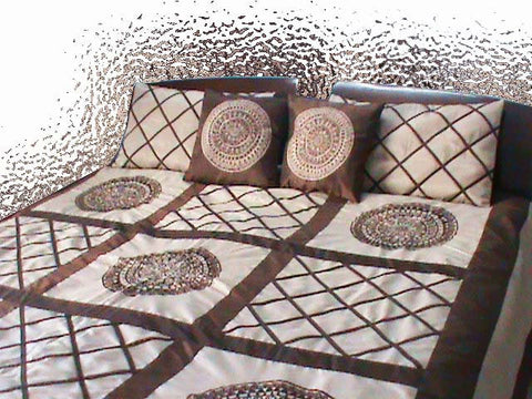 Appliqued Embroidered Duvet Cover-Beige Brown -Twin Size Set - TATVAKALA Home
