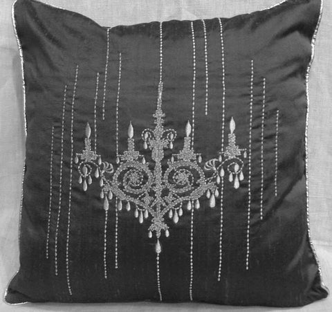 chandelier silver embroidered pillow