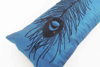 Blue Black Peacock Feather Sequins Pillow-9x20 inches - TATVAKALA Home