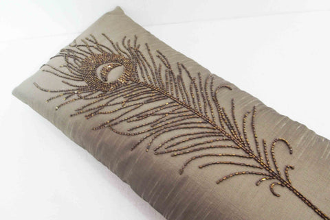 Beige Metallic Peacock Feather Sequins Pillow -9 x 20 inches - TATVAKALA Home