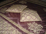 vintage lilac duvet cover in size 108x90 inches with 2 pillow cases and cushion covers - TATVAKALA Home