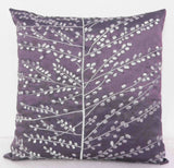 modern wild leaves Silver embroidered on plum/ purple cushion - TATVAKALA Home