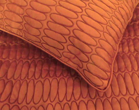 "cotton orange queen size quilted bedspread with 2 pillows in size 102""x116"" and 20""x30"" - TATVAKALA Home"
