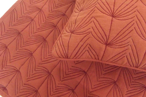 "Cotton orange/terracota  twin size quilted bedspread with 2 pillows in size 108""x90"" and 20""X26"" - TATVAKALA Home"