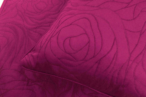 "Cotton fushia /pink  King size quilted bedspread with 2 pillows in size 108""x90"" and 20""X26"" - TATVAKALA Home"