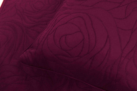Cotton plum  king size quilted bedspread with 2 pillows in size 114x120inches and 20X36inches - TATVAKALA Home