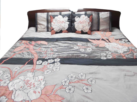 wild flower field duvet cover in size 90inchX108inch in shades of  grey and rosepink and white colour - TATVAKALA Home