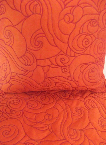 "Cotton orange ocean abstract waves pattern King size quilted bedspread with 2 pillows in size 114""x120"" and 20""X36"" - TATVAKALA Home"