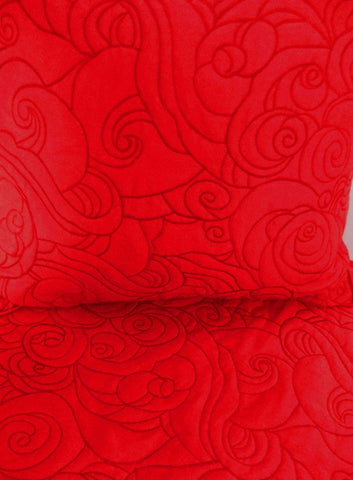 Red Waves Pattern Quilted Bedding Coverlet Set - TATVAKALA Home