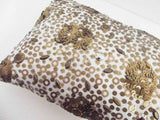 modern gold bronze sequins pillow on white silk taffet in size 9x20 available with a filler,homedecor,decorative,handmade,abstract art - TATVAKALA Home