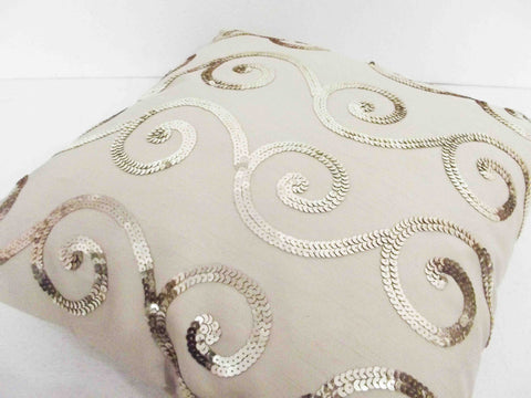 swirly pattern gold sequins on beige silk cushion in size 16x16 inches - TATVAKALA Home
