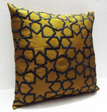 mustard yellow and charcoal grey morrocan tile decorative embroidered throw pillow cover-16x16inches - TATVAKALA Home