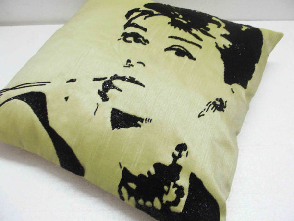 Audrey Hepburn Sequins Green Pillow-16x16inches - TATVAKALA Home