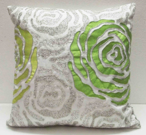 white pillow decorative pillow rose pillow embroidered pattern silk fabric designer pillow vinatge pillow home pillow modern pillow - TATVAKALA Home
