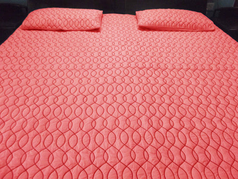 Coral Pink Waves Pattern Quilted Bedding Coverlet Set - TATVAKALA Home