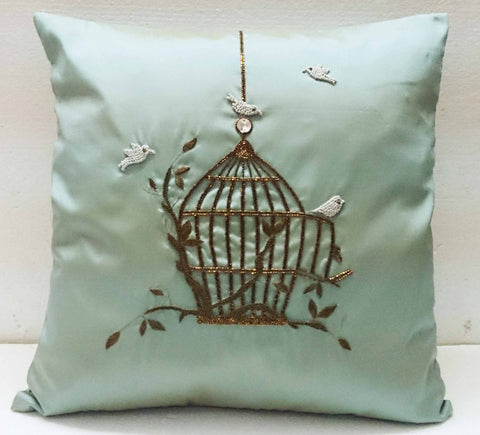 homedecor blue silk pillow vintage style birdcage hand embroidery accent pillow sofa pillow bed pillow decorative contemporary modern pillow - TATVAKALA Home