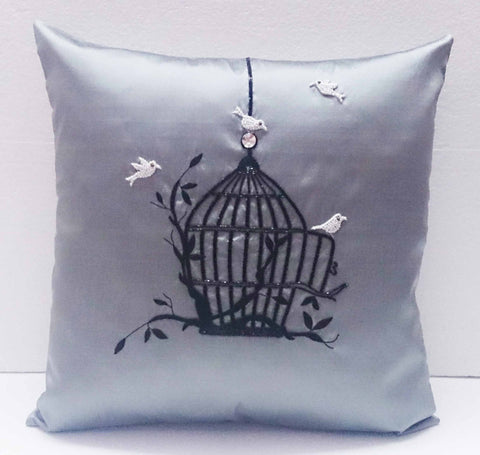homedecor grey silk pillow vintage style birdcage hand embroidery accent pillow sofa pillow bed pillow decorative contemporary modern pillow - TATVAKALA Home