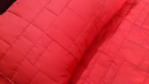"cotton red geometric square straight lined tone on tone queen size quilted bedspread with 2 pillows in size 102x116 inch and 20""X30"" - TATVAKALA Home"