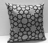 charcoal grey embroidery pillow