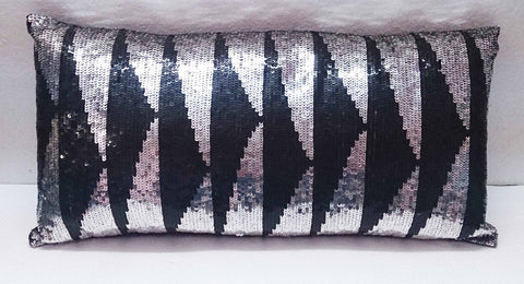 modern homedecor silver and black sequins pillow in size 9x20-bling pillow-throw pillow-decor and housewares-black metallic pillow - TATVAKALA Home