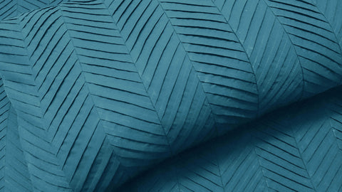 teal zig zag pleated cal king size duvet cover  94x104 inches with 2 pillow cover in size 20 inches x 36 inches - TATVAKALA Home