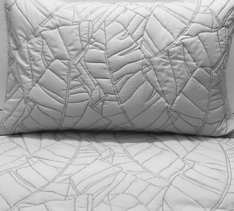 cotton bedspread light grey leaf quilt pattern King size bedspread bedding coverlet embroidery pattern contemporary quilt modern bedspread - TATVAKALA Home