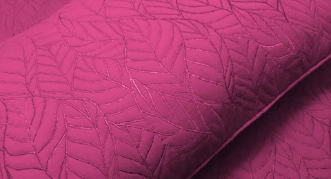 cotton bedspread pink leaf quilt pattern King size bedspread bedding coverlet embroidered contemporary quilt modern bedspread - TATVAKALA Home