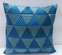 modern decorative pillow-blue and light blue zig zag pleated origami triangle pleated cushion-home decor-accent pillow-hand sticthed pillow - TATVAKALA Home