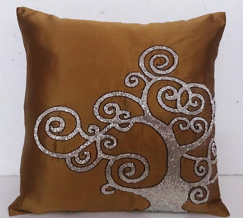 Brown gold tree pillow