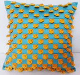 turquoise silk with yellow velvet origami texure pillowcover 16x16 inches,textured pillow, luxury pillow,home decor,housewares,throw pillow - TATVAKALA Home